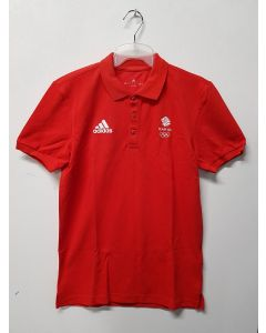 Adidas Team GB Mens Polo Shirt Red UK 38-40