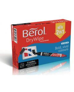 Berol 2 in 1 DryWipe Markers Chisel Tip 12pk