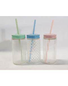 Tiger Glass Jar Screw Lid & Reusable Straw 20pk