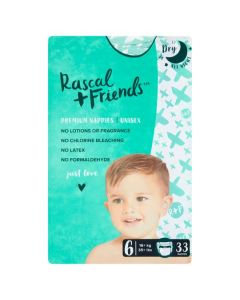 Rascal & Friends Premium Nappies Size 6 2x33pk