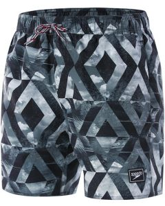 "Speedo Mens 16"" Black Print Water Shorts M"