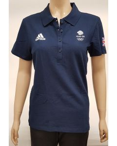 Adidas Team GB Womens Polo Shirt Navy UK 8