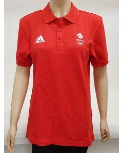 Adidas Team GB Mens Polo Shirt Red UK 46-48