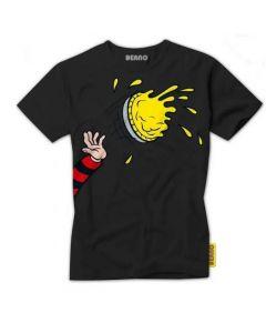 Beano Adult Custard Pie T Shirt Black Large