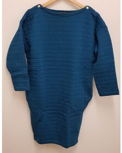 Petit Bateau Long Sleeve Dress Petrol Blue Small
