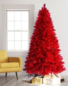 Red Christmas Tree 4' with Clear Lights