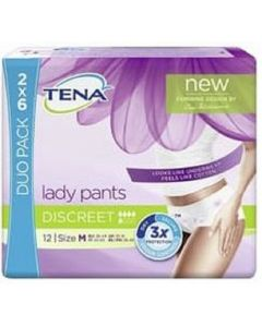 Tena Lady Pants Discreet Duo Pack Medium  2 x 6pk
